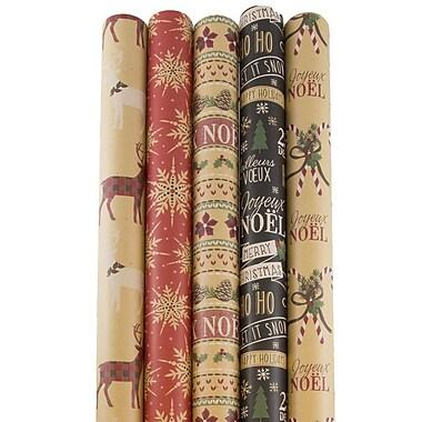 JAM Paper Rouleaux de papier emballage Kraft, ensemble de Noël, 125 pi2, 5/paquet (165K5KRCHR)