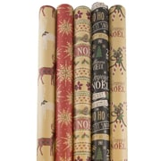 JAM Paper® Kraft Wrapping Paper Rolls Christmas Set, 125 sq ft., 5/Pack (165K5KRCHR)