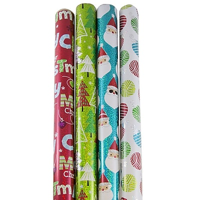 JAM Paper Christmas Design Wrapping Paper- 100
