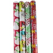 JAM Paper® Wrapping Paper, Premium Foil Gift Wrap, 100 Sq Ft, Red HoHoHo Santa Set, 4/Pack (165F4REHOS)