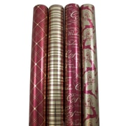 JAM Paper® Christmas Wrapping Paper, 45 sq. ft., Luxurious Christmas, 4/pack(368533832)