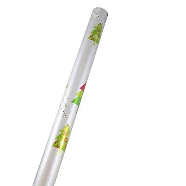 JAM Paper - Papier d'emballage de Noël, papier métallisé de qualité supérieure, 25 pi2, sapins sur fond argenté (165 FSITR)