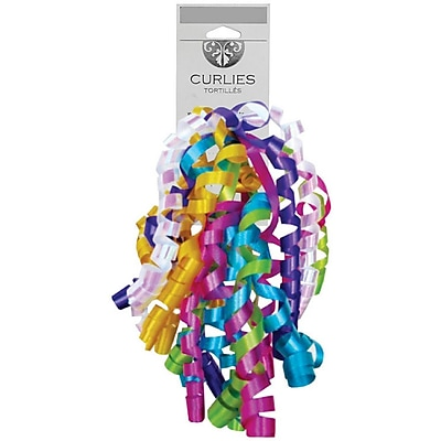 JAM Paper® Curly Gift Bows, 7.25 x 8.25, Primary, 120/carton (376333974)