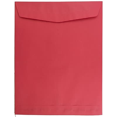 JAM Paper® 10 x 13 Open End Catalog Envelopes with Gum Closure, Brite Hue Christmas Red Recycled, 25/pack (v0128192a)