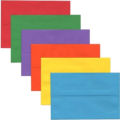 JAM Paper® A10 Invitation Envelopes, 6 x 9.5, Assorted Bright Colors, 150/pack (956A10brogvy)