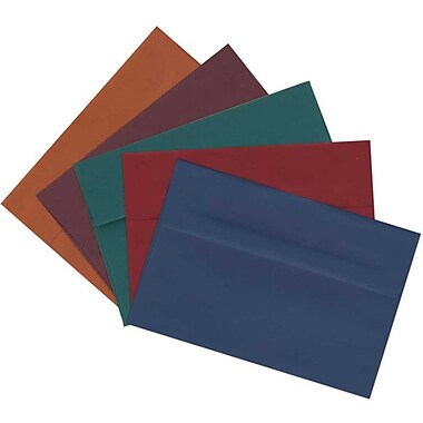 JAM Paper® A2 Invitation Envelopes, 4 3/8 x 5 3/4, Assorted Dark Colors, 125/pack (639A2bortb)