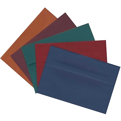 JAM Paper® A2 Invitation Envelopes, 4 3/8 x 5 3/4, Assorted Dark Colors, 125/pack (639A2bortb)