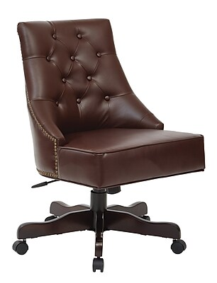 Inspired by Bassett Rebecca Office Chair with Dark Espresso Finish Base and Cocoa Bonded Leather Fabric (BP-REBEX-BD24)