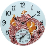 "Springfield Precision 12"" Poly Resin Clock with Thermometer, Clown Fish (92327)"