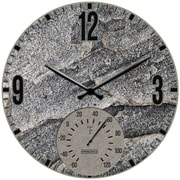 "Springfield Precision 12"" Poly Resin Clock with Thermometer, Slate Stone (92333)"