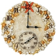 "Springfield Precision 14"" Poly Resin Clock with Thermometer, Seashells (92622)"
