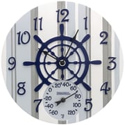 "Springfield Precision 14"" Poly Resin Clock with Thermometer, Captain's Wheel (92668)"