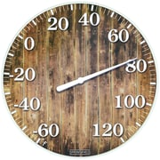 "Springfield Precision 10"" Tempered Glass Dial Thermometer, Barn Wood (98322)"