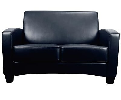 Essentials by OFM Traditional Two Seated Armed Loveseat, Black (ESS-9051-BLK)