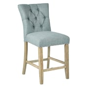 Inspired by Bassett Preston Counter Stool with Brushed Rustic Finish Legs and Marlow Bluebird Fabric - 2/Pack (BP-PSB24K-M27)
