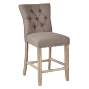 Inspired by Bassett Preston Counter Stool with Brushed Rustic Finish Legs and Marlow Dolphin Fabric - 2/Pack (BP-PSB24K-M28)