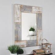 "FirsTime® Mason Planks 31.5"" H x 24"" W Gray & White Wooden Wall Mirror (70001)"