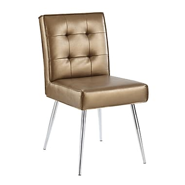 Ave Six Amity Tufted Dining Chair with Chrome Finish Metal Legs & Sizzle Copper Faux Leather Fabric (AMTD-S53)