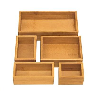 Seville Classics 5-Piece Bamboo Storage Box Drawer Organizer Set (BMB17053) 24179269