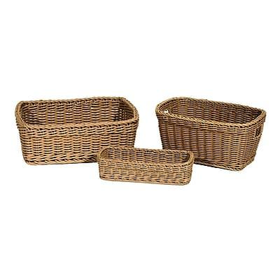 Seville Classics Nesting Wicker Weave Storage Basket Set 3-Piece, Light Brown (WEB364)