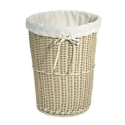 Large Round Wicker Weave Laundry Hamper w/ Canvas Liner, Ivory
