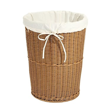 Large Round Wicker Weave Laundry Hamper w/ Canvas Liner, Light Brown