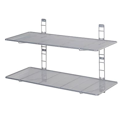 2-Tier Heavy-Duty Wall Mount Floating Steel Wire Mesh Storage Shelves