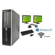 "Refurbished HP 6300 SFF Intel i3-3220 (Includes two 22"" LCD monitors), 8GB, 2TB, DVDRW, WiFi, Win 10 Pro"