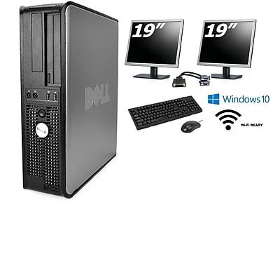 """Refurbished Dell GX780 Core 2 Duo 3.0 (Includes two 19"""" LCD monitors), 8GB, 1TB, DVDRW, WiFi, Win 10 Pro"""