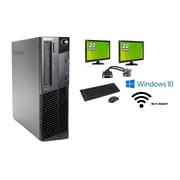 "Refurbished Lenovo M92 SFF (Includes two 22"" LCD monitors) Intel i5 3470, 8GB, 2TB, DVDRW, WiFi, Win 10 Pro"
