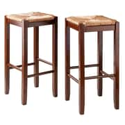 "Winsome Kaden 29""H Solid Walnut Bar Stool, 2/Set (94280)"