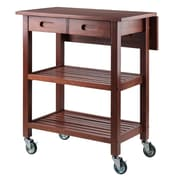 Winsome Jonathan 2 Drawer Rolling Kitchen Cart in Walnut (94734)