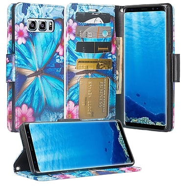 Blue Floral Wallet Credtit Card Holder with Stand Cellphone Case for Samsung Galaxy Note 8