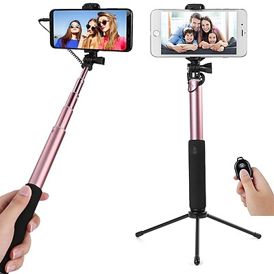Bluetooth Remote Control Selfie Stick and Mini Base Stand with Back Mirror (SLFLEA131)