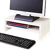 "Way Basics 16.7""W 2-Shelf Simple Eco Modern Computer Monitor Stand Riser, White (WB-STAND-2-WE)"