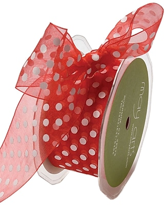 Sheer Polka Dots Ribbon 3/8