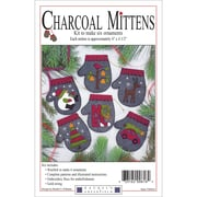 "Charcoal Mittens Ornament Kit 6/Pkg-4""X4.5"""