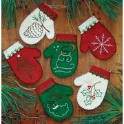 "Mittens Ornament Kit 6/Pkg-4""X4.5"""
