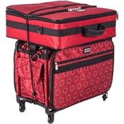 """TUTTO Machine On Wheels Case-23""""X15""""X12"""" Red W/Dotted Circles"""