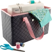 """Everything Mary Sewing Machine Carry Tote-17""""X8""""X11"""" Grey Polka Dots & Pink Trim"""
