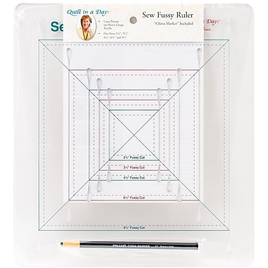 Quilt In A Day Sew Fussy Ruler W/China Marker-2-1/2