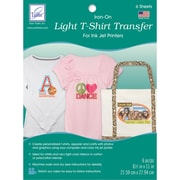 "Light T-Shirt Iron-On Ink Jet Transfer Sheets 8.5""X11"" 6/Pkg-"