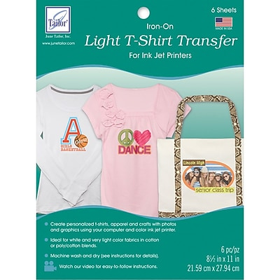 Light T-Shirt Iron-On Ink Jet Transfer Sheets 8.5