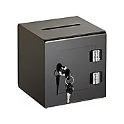 AdirOffice Locking Acrylic Ballot/Donation Box, Black (637-02-1-BLK)
