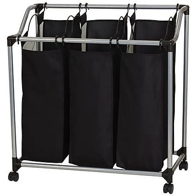 Household Essentials 3-Bag Laundry Clothes Hamper Sorter With Vented Bags (9117)