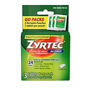 Zyrtec 24 Hour Allergy Tablets with Cetirizine HCl, Travel Size, 3 Count (105643)