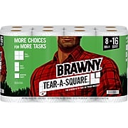 Brawny Tear-A-Square Kitchen Roll Paper Towels, 2-Ply, 128 Sheets/Roll, 8 Rolls/Pack (442135)