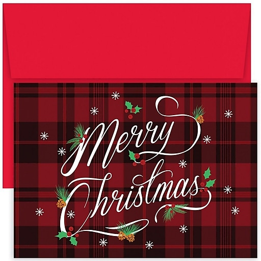 Shop Staples For JAM Paper® Christmas Card Set, Plaid