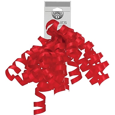 JAM Paper® Grosgrain Curly Gift Bows, 7.25 x 8.25, Red, 120/Pack (376333989)