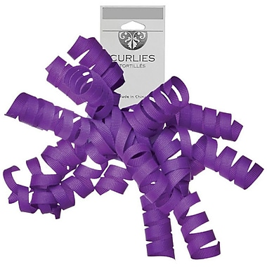 JAM Paper® Grosgrain Curly Gift Bows, 7.25 x 8.25, Purple, 120/Pack (376333985)